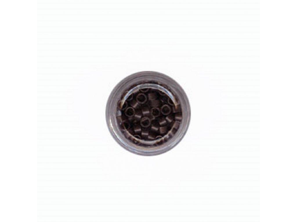 Kroužky Micro Ring 4.0mm, protiskluz, 100ks, tmavě hnědé