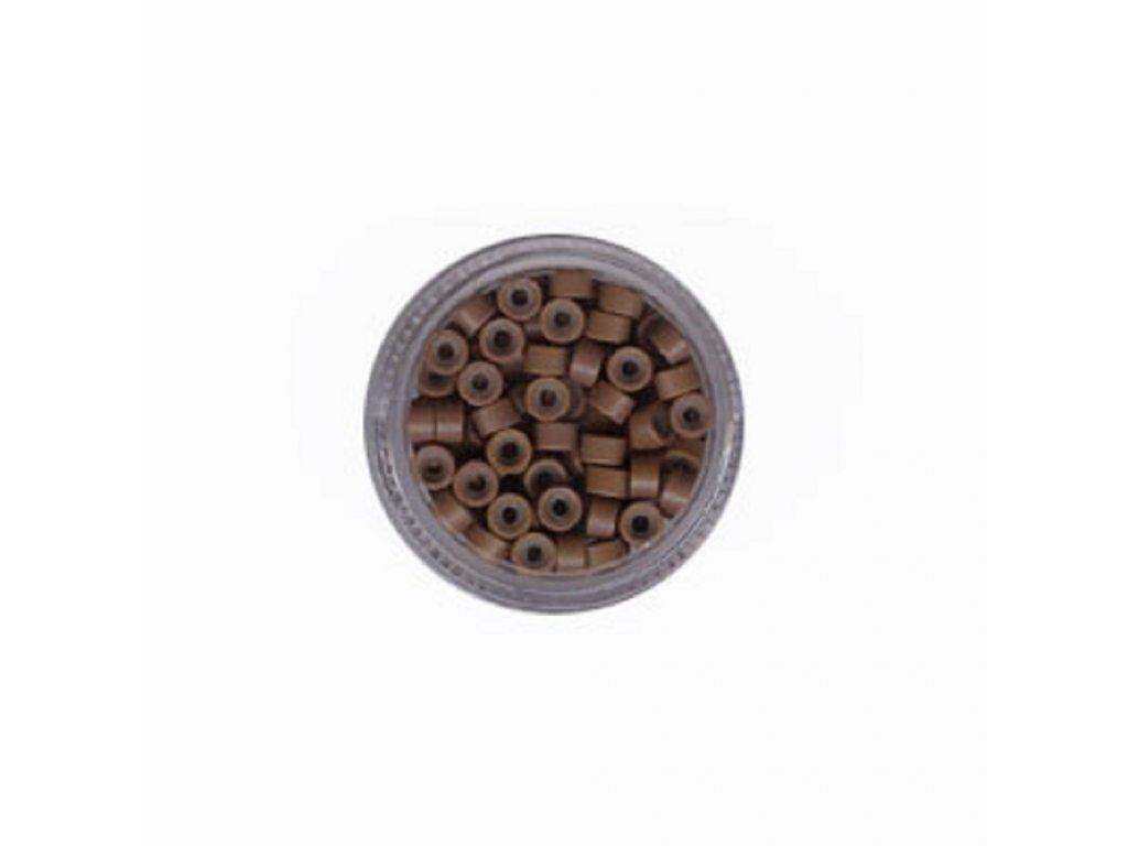 Kroužky Micro Ring 5.0mm silikon, 100ks, světle hnědé
