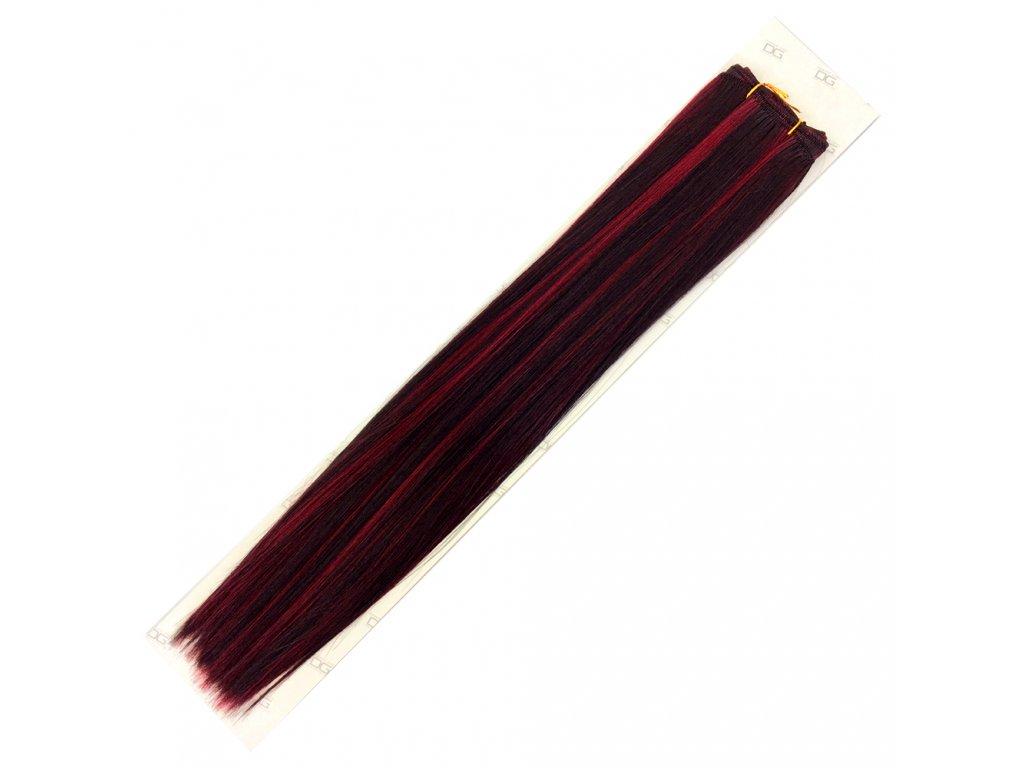 Umělé vlasy 50cm Černá-vínová