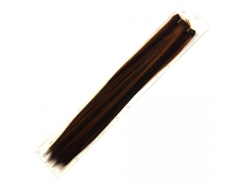 Umělé vlasy 50cm Tm.hnědá-medová