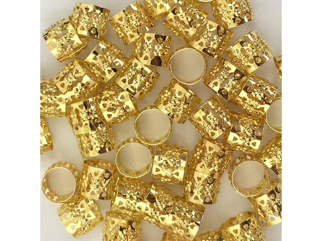 Korálky s upravitelným průměrem zlaté otvor 10mm délka 8mm 5ks