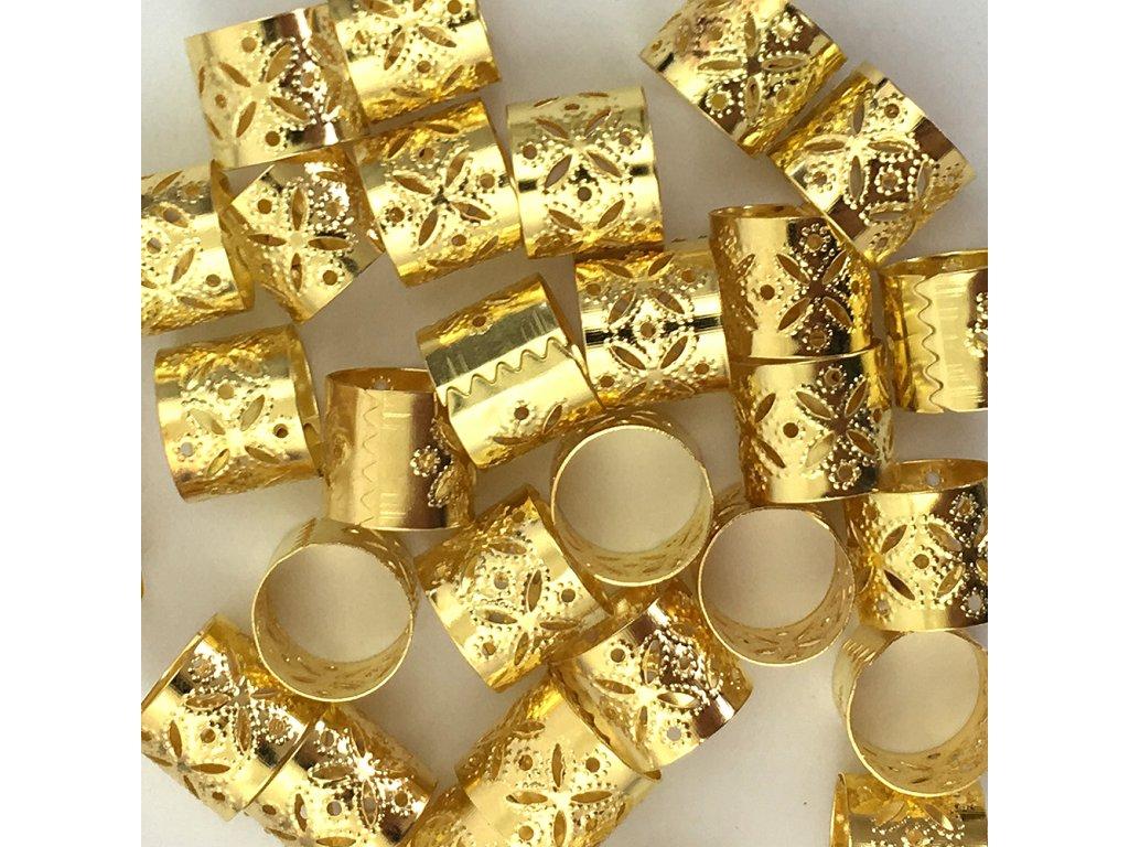 Korálky s upravitelným průměrem zlaté otvor 12mm  délka 10mm 5ks