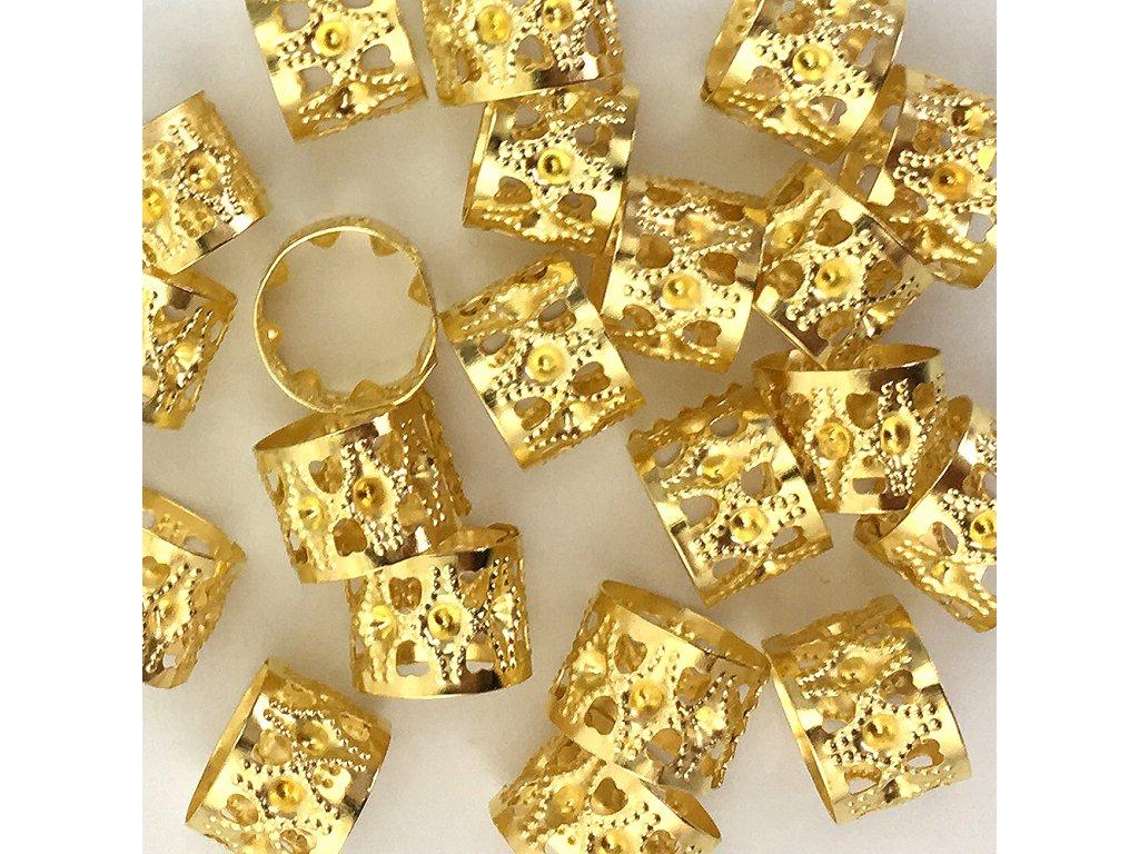 Korálky s upravitelným průměrem zlaté otvor 14mm délka 10mm 5ks