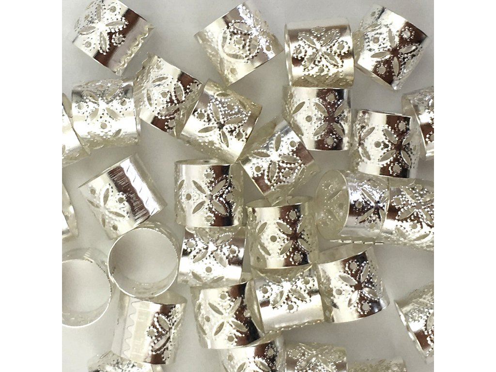 Korálky s upravitelným průměrem stříbrné otvor 12mm délka 10mm 5ks