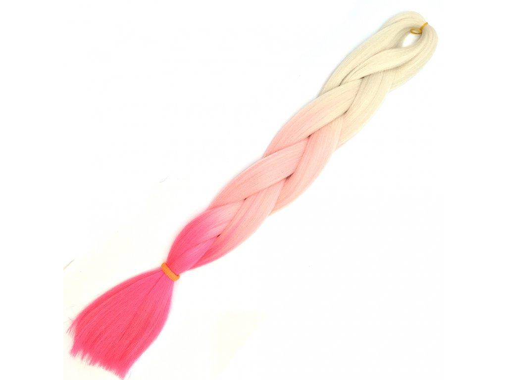 Ombre Jumbo Braid-Kanekalon H3-24 Ledová blond-Světle růžová-Růžová