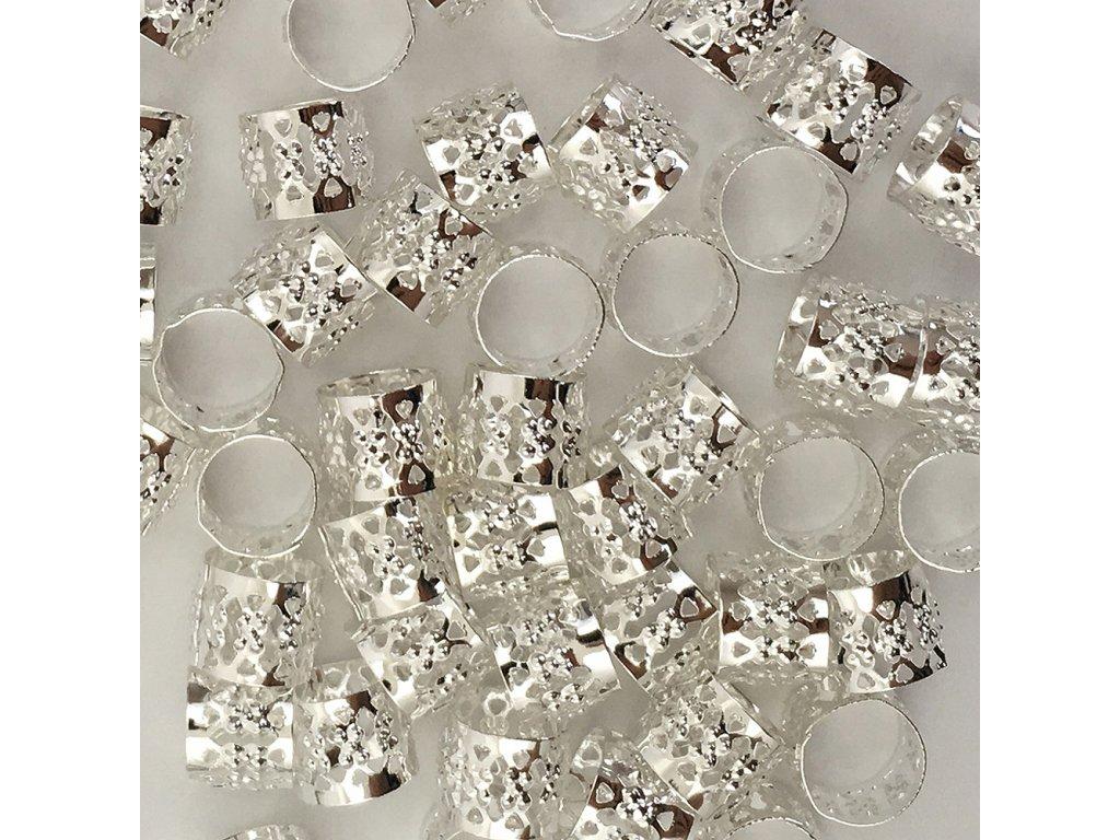 Korálky s upravitelným průměrem stříbrné otvor 10mm délka 8mm 50ks