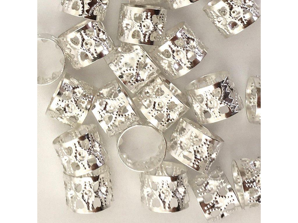 Korálky s upravitelným průměrem stříbrné otvor 14mm délka 10mm 21ks