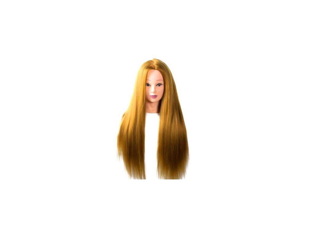 Cvičná hlava umělé vlasy délka 60cm medové