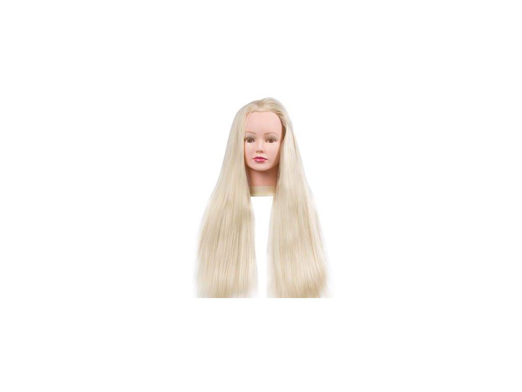 Cvičná hlava umělé vlasy délka 60cm plavé