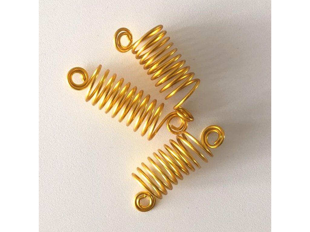Korálky - pružinky zlaté otvor 10mm délka 50mm 3ks