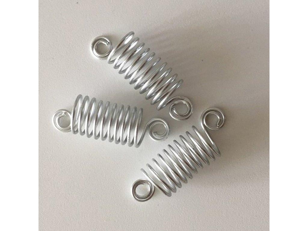 Korálky - pružinky stříbrné otvor 10mm délka 50mm 3ks