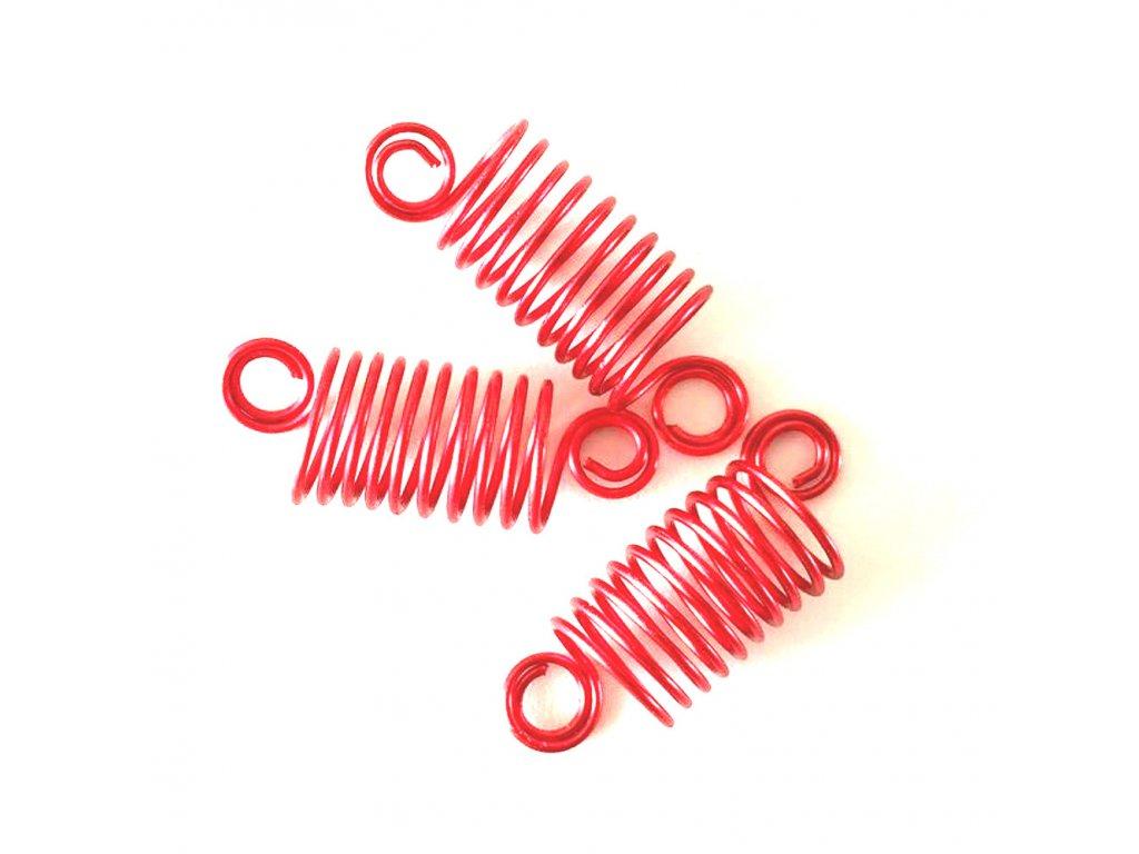 Korálky - pružinky červené otvor 10mm délka 50mm 3ks