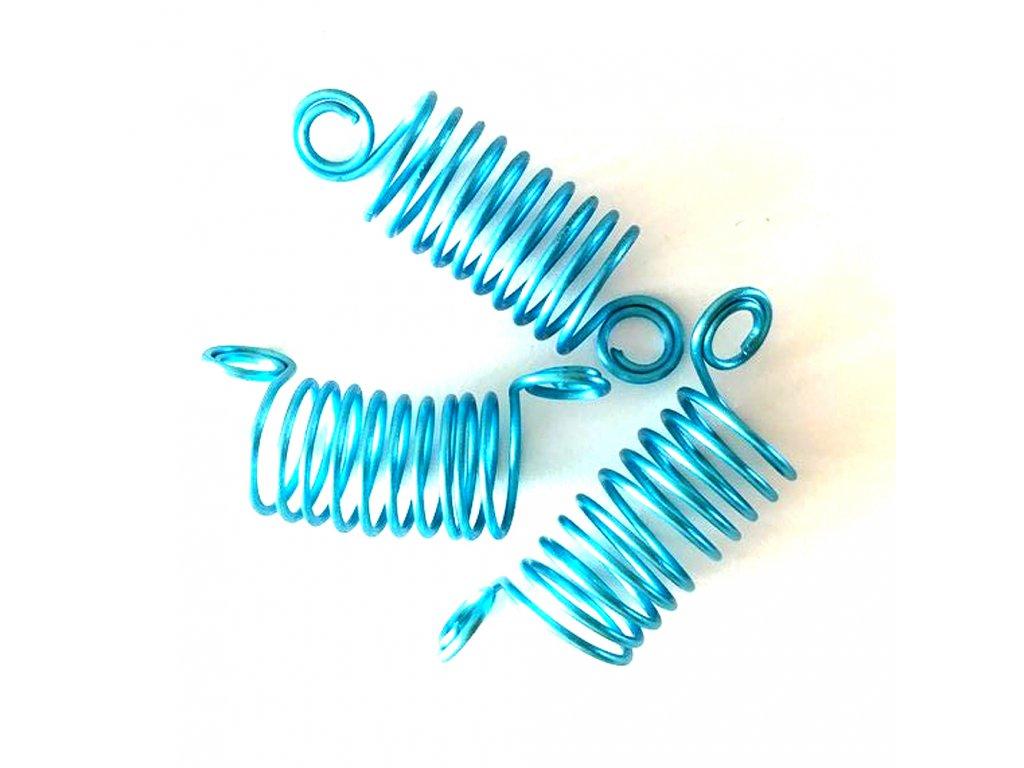 Korálky - pružinky modré otvor 10mm délka 50mm 3ks