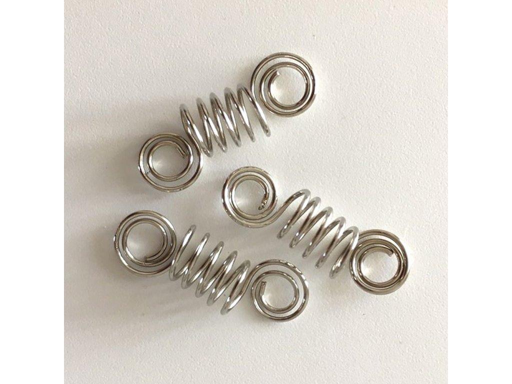 Korálky pružinky stříbrné otvor 8 mm délka 40mm 3ks