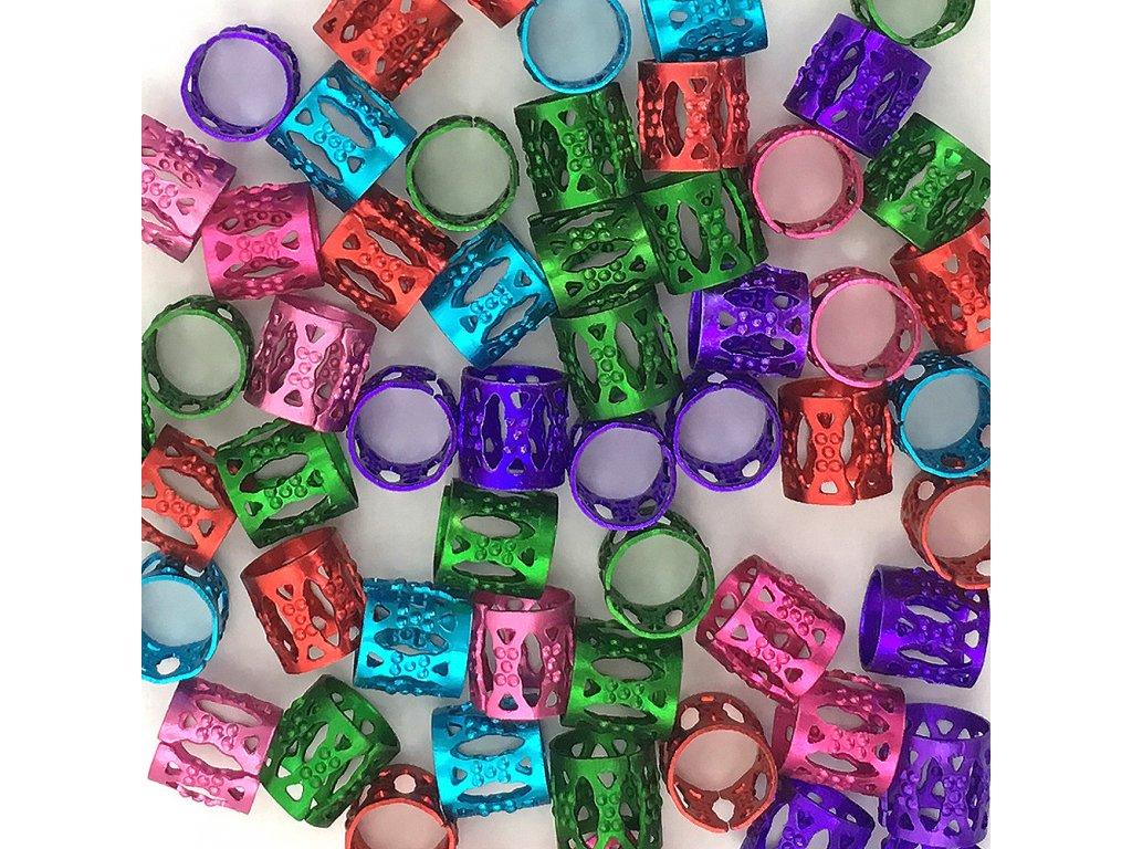 Korálky mix barev upravitelný průměr otvor 8mm délka 8mm 60ks