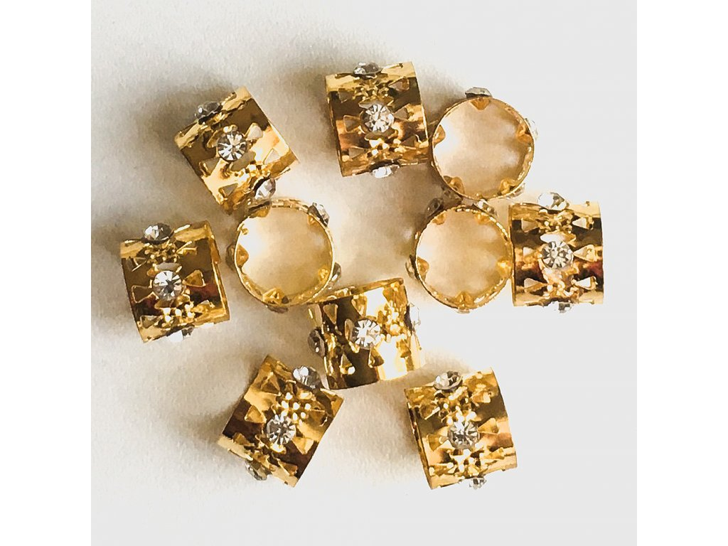Korálky s upr. průměrem zlaté s kamínkem otvor 12mm d. 10mm 5ks