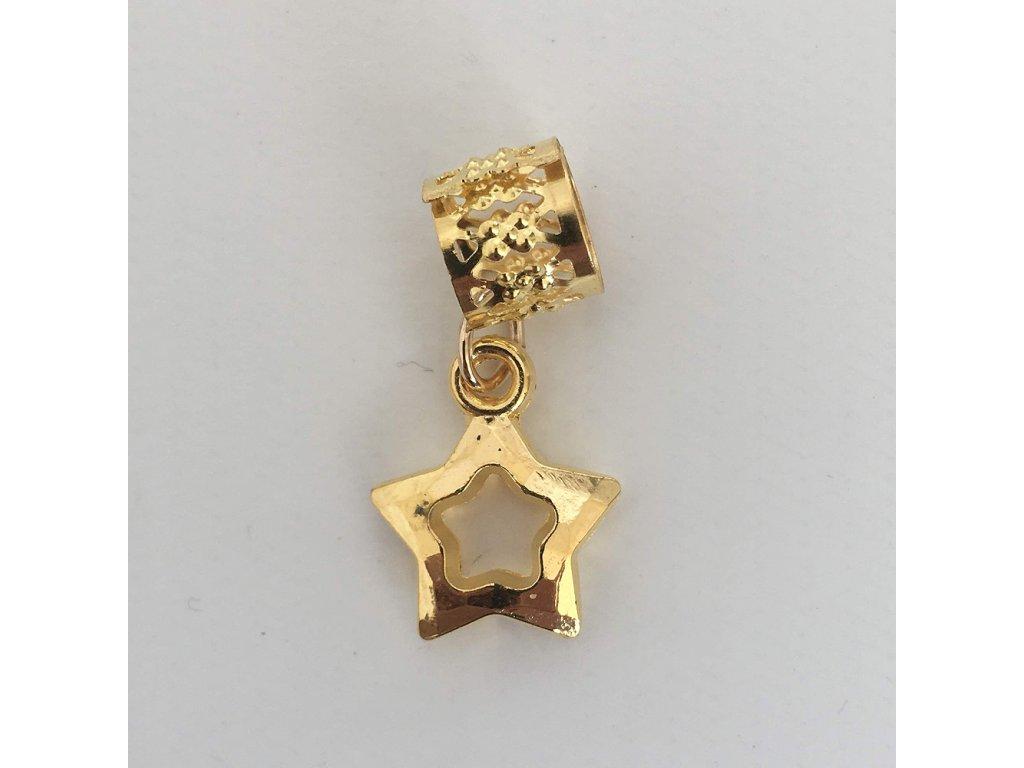 Korálky s upravitelným průměrem zlaté Hvězdičky otvor 10mm 5ks
