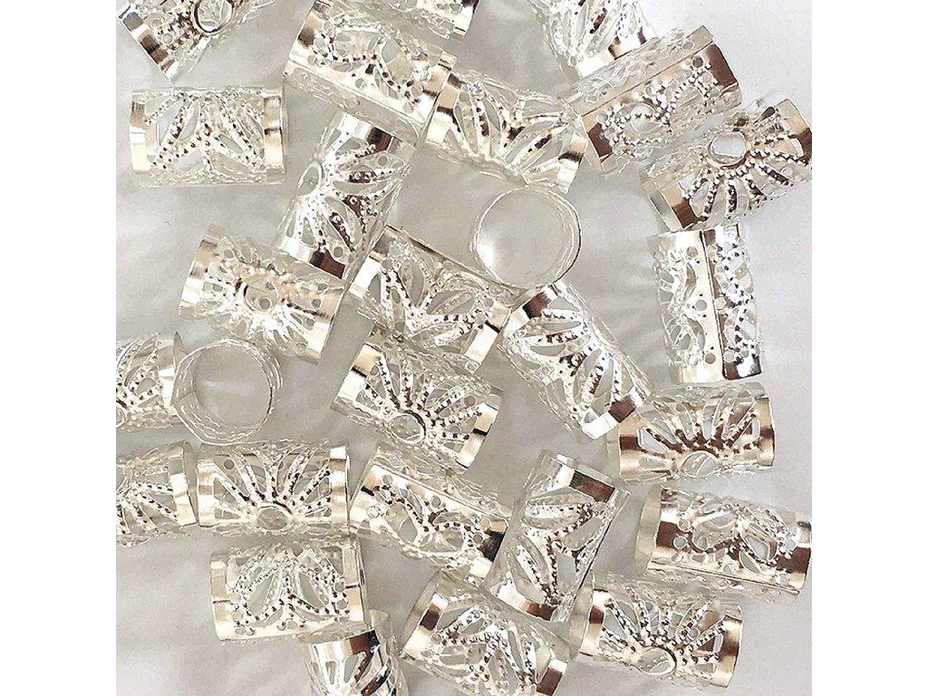 Korálky s upr. průměrem stříbrné otvor 10mm délka 15mm 27ks
