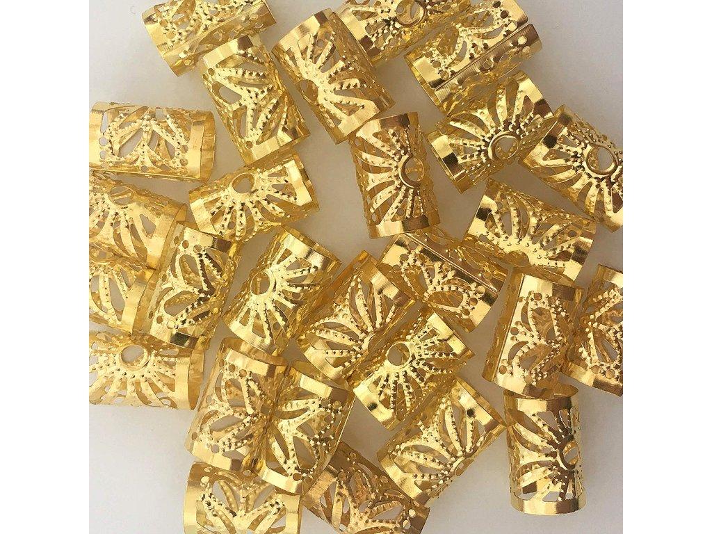 Korálky s upravitelným průměrem zlaté otvor 10mm délka 15mm 27ks