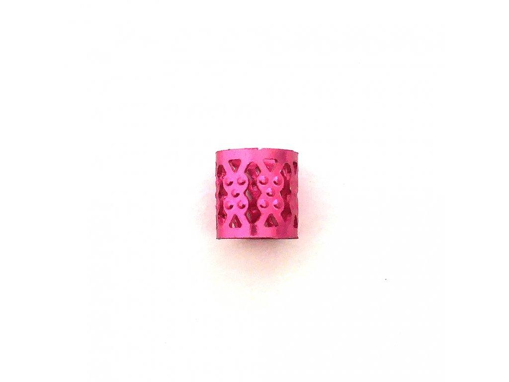 Korálky s upravitelným průměrem růžové otvor 10mm délka 8mm 5ks
