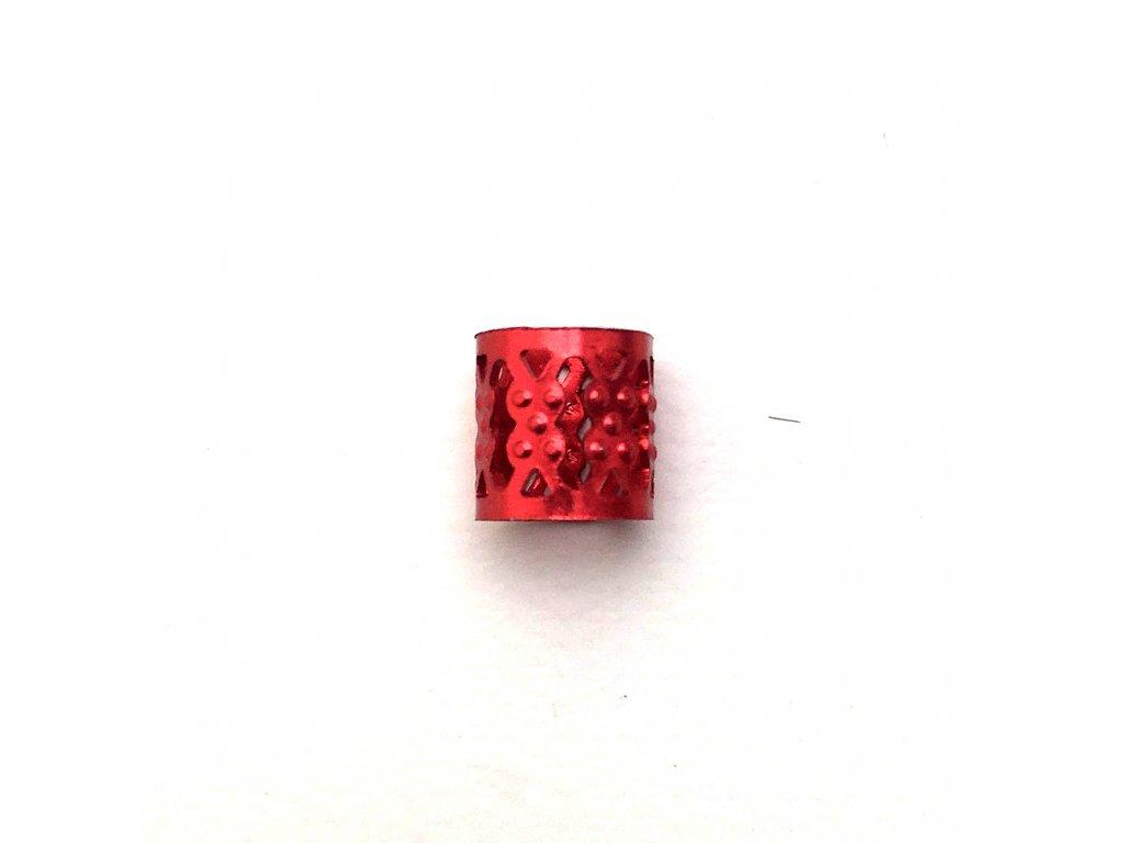 Korálky s upravitelným průměrem červené otvor 10mm délka 8mm 5ks