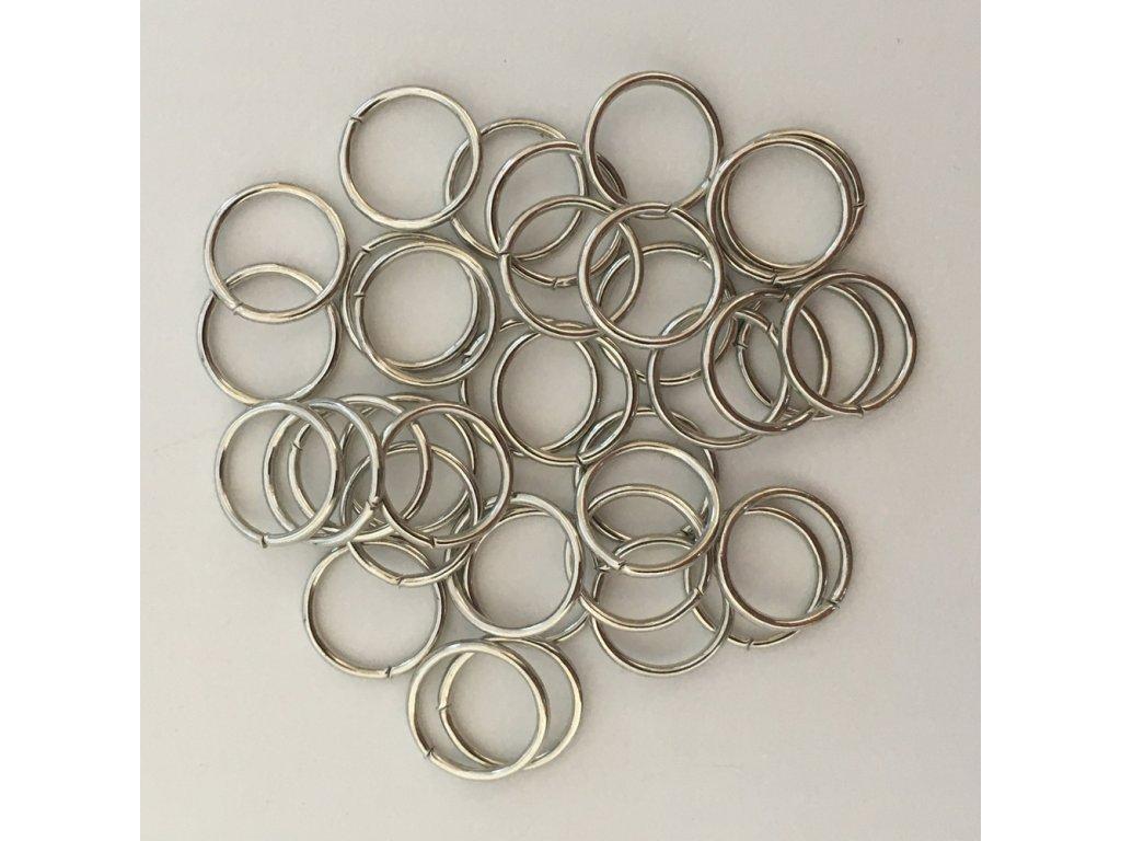 Kroužky do copánků a účesů stříbrné 12mm 10ks