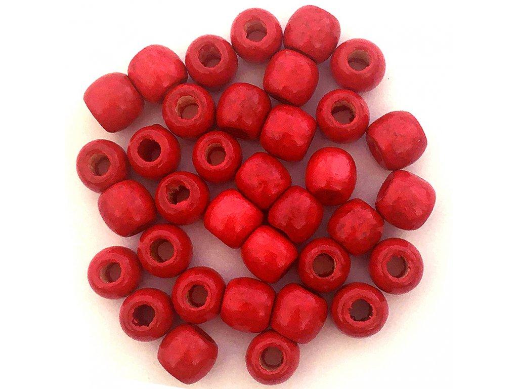 Korálky na copánky a dready dřevěné červené velké 5ks
