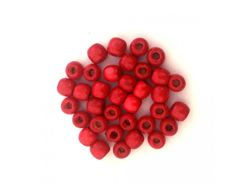 Korálky na copánky a dready dřevěné červené malé 5ks