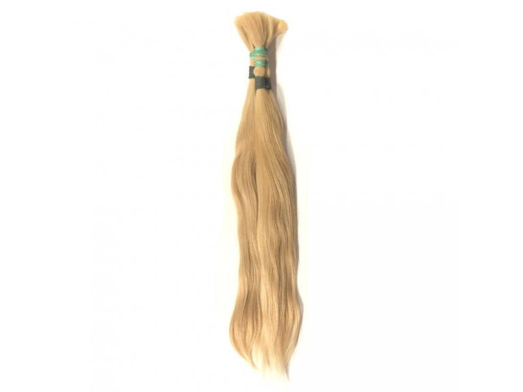 Pravé vlasy blond 60cm v copu 81gr