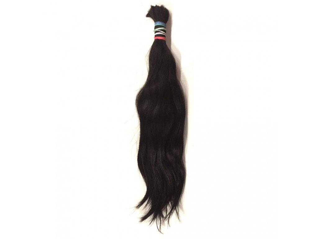 Pravé vlasy hnědé 40cm v copu 57gr