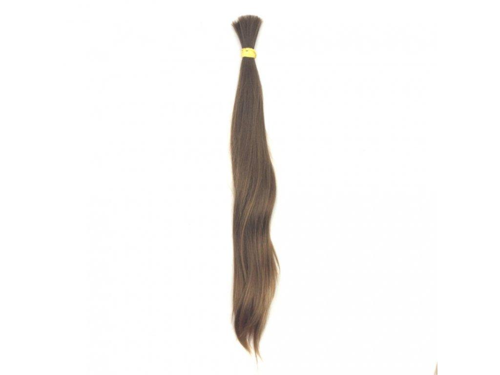 Pravé vlasy hnědé 45cm v copu 103gr