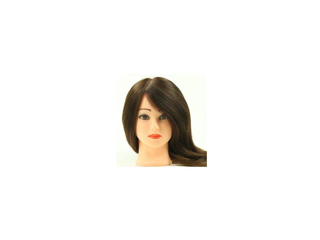 Cvičná hlava 100% pravé vlasy délka 45cm středně hnědé