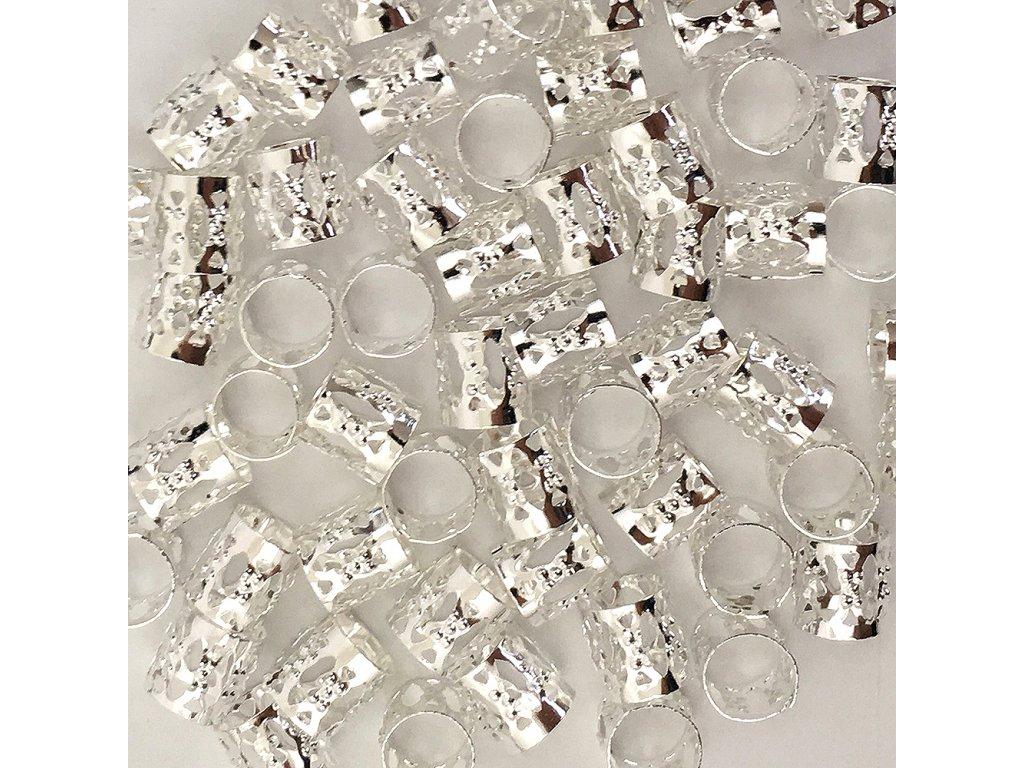 Korálky s upravitelným průměrem stříbrné otvor 8mm délka 8mm 5ks