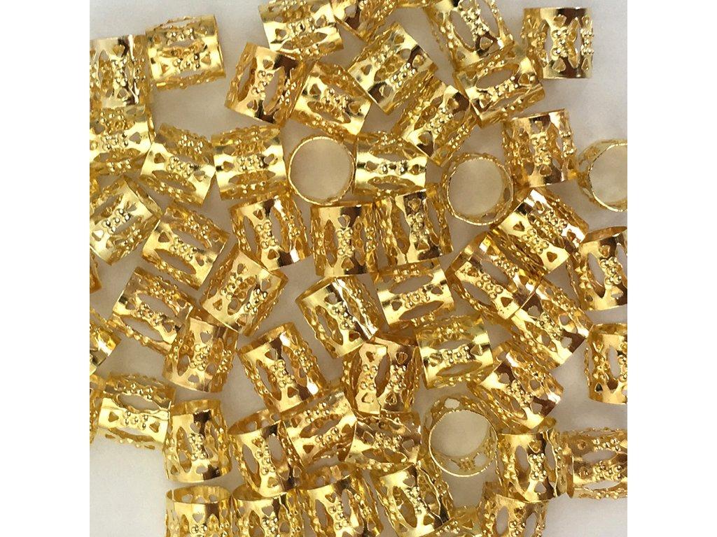 Korálky s upravitelným průměrem zlaté otvor 8mm délka 8mm 5ks