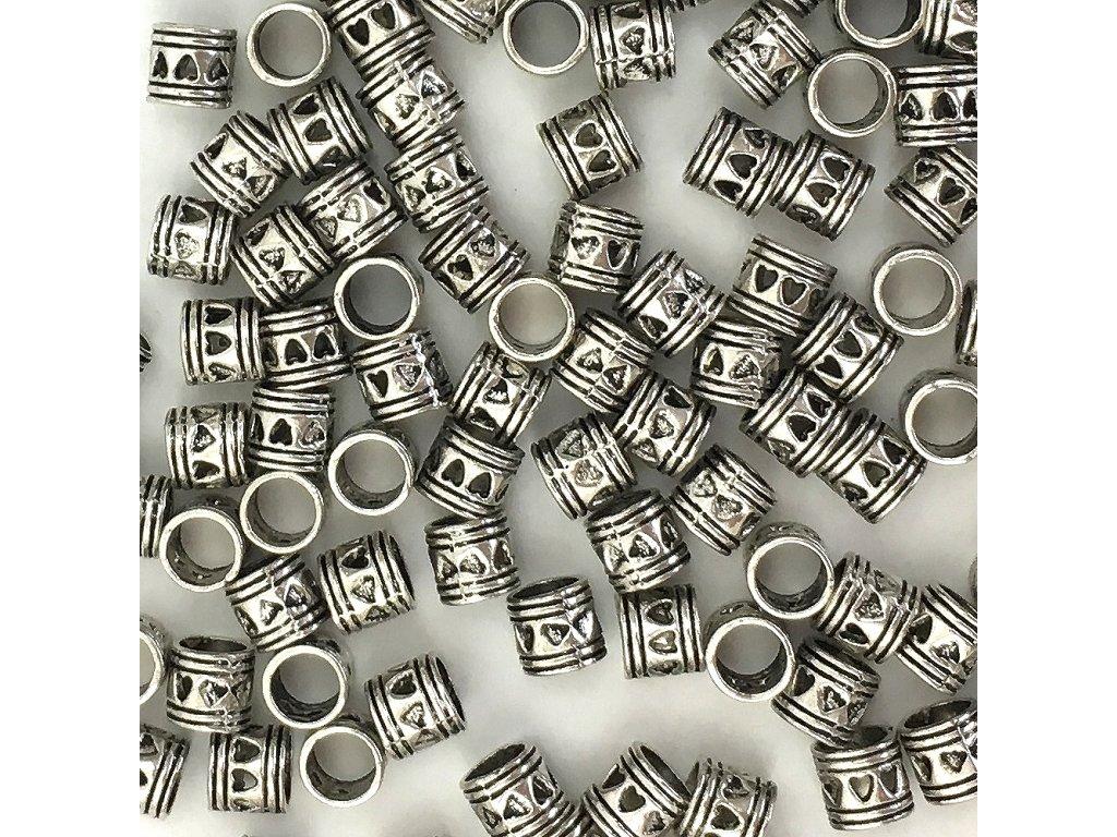 Stříbrné korálky na copánky nebo dready typA 5ks