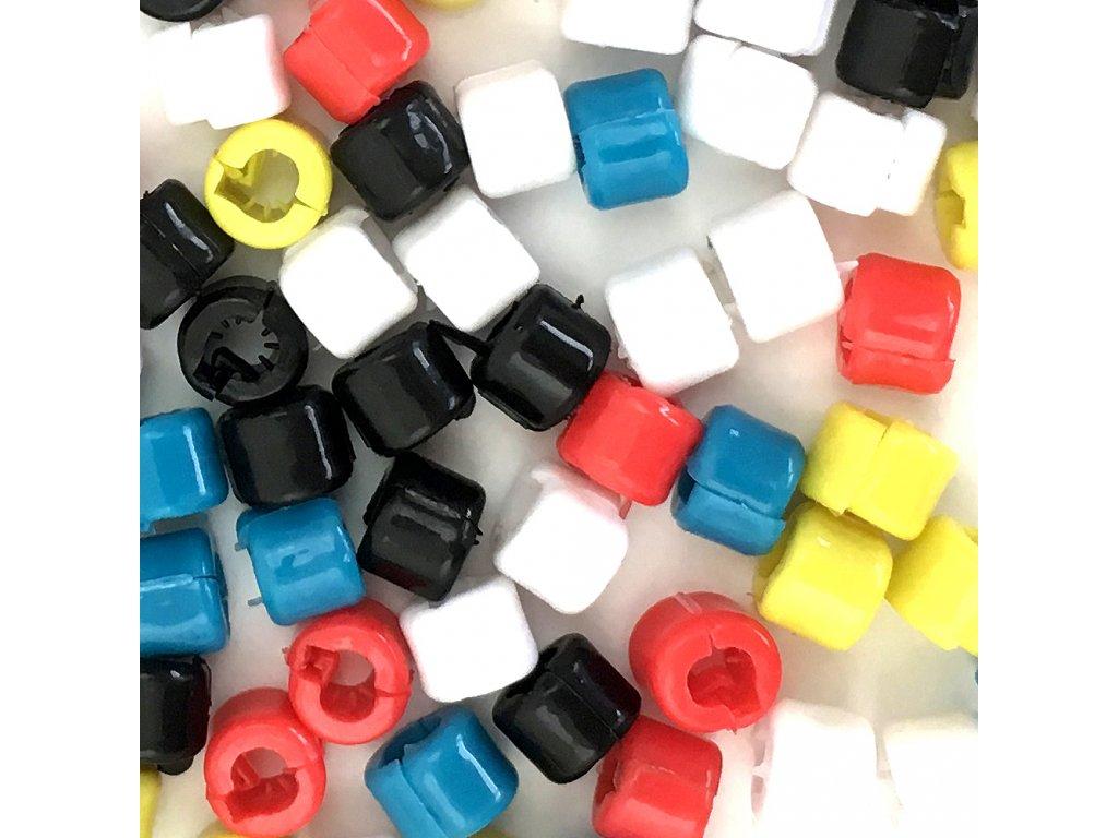 Korálky na copánky zacvakávací balení 100ks mix barev