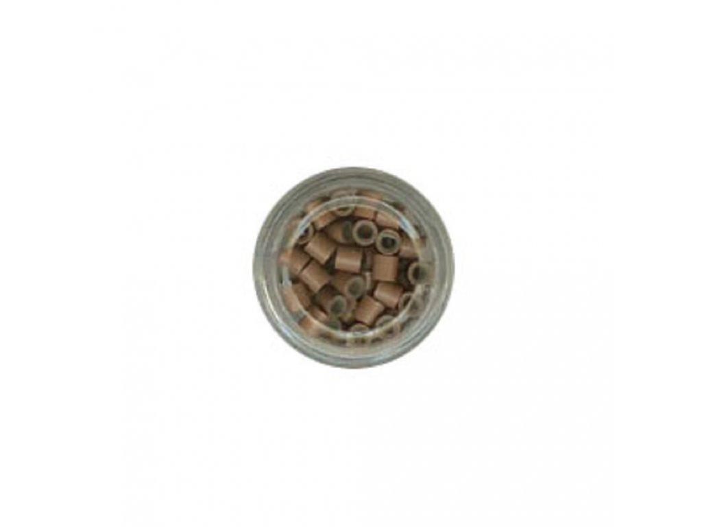 Kroužky Micro Ring 4.0mm, měděné silikon, 100ks, světle hnědé