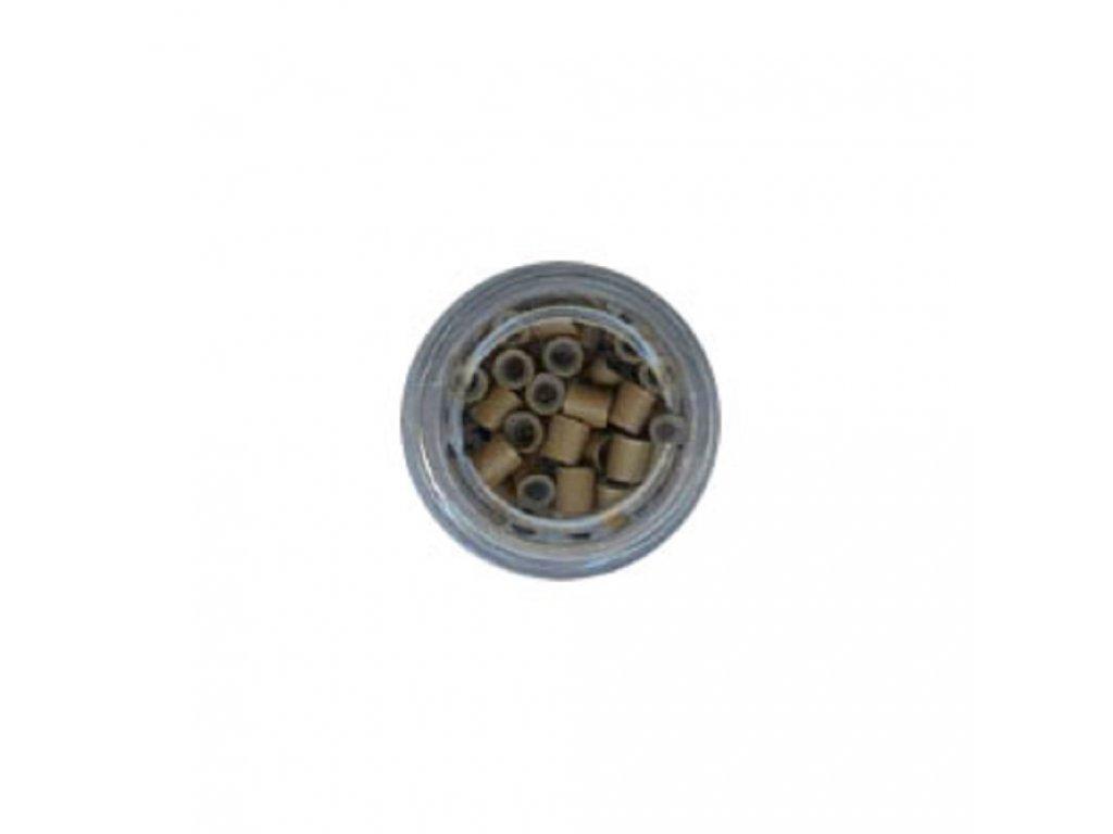 Kroužky Micro Ring 4.0mm, měděné silikon, 100ks, tmavá blond