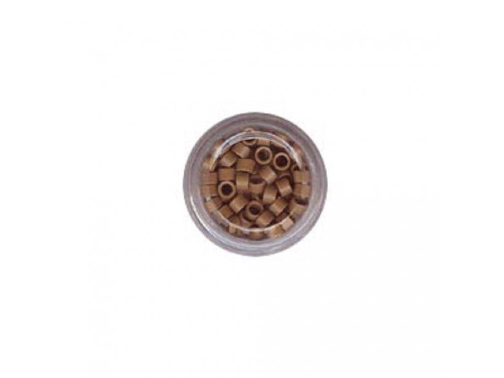 Kroužky Micro Ring 4.0mm, protiskluz, 100ks, světle hnědé