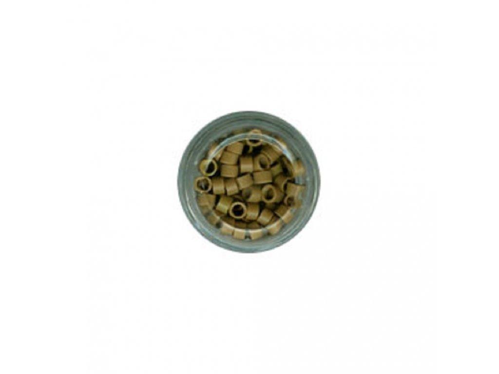 Kroužky Micro Ring 4.0mm, protiskluz, 100ks, tmavá blond