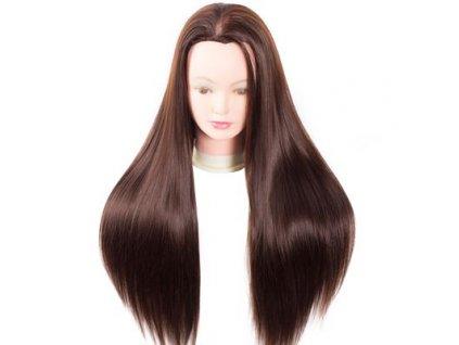 Cvičná hlava umělé vlasy délka 60cm tmavě hnědé