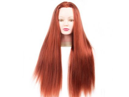 Cvičná hlava umělé vlasy délka 60cm mahagonové