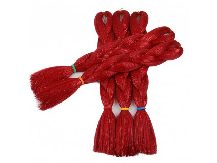 Glitters Jumbo Braid Kanekalon červený Red