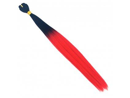 Rovný Kanekalon na třásni Ombre Černá-Červená