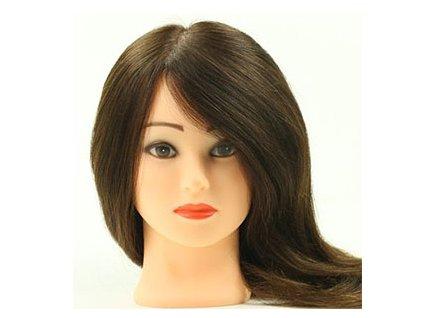 Cvičná hlava 100% pravé vlasy délka 55cm středně hnědé
