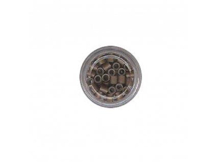 Kroužky Micro Ring 4.0mm, měděné silikon, 100ks, středně hnědé