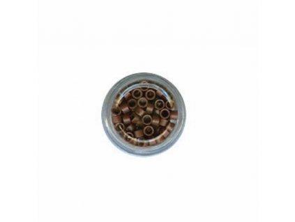 Kroužky Micro Ring 4.0mm, protiskluz, 100ks, středně hnědé