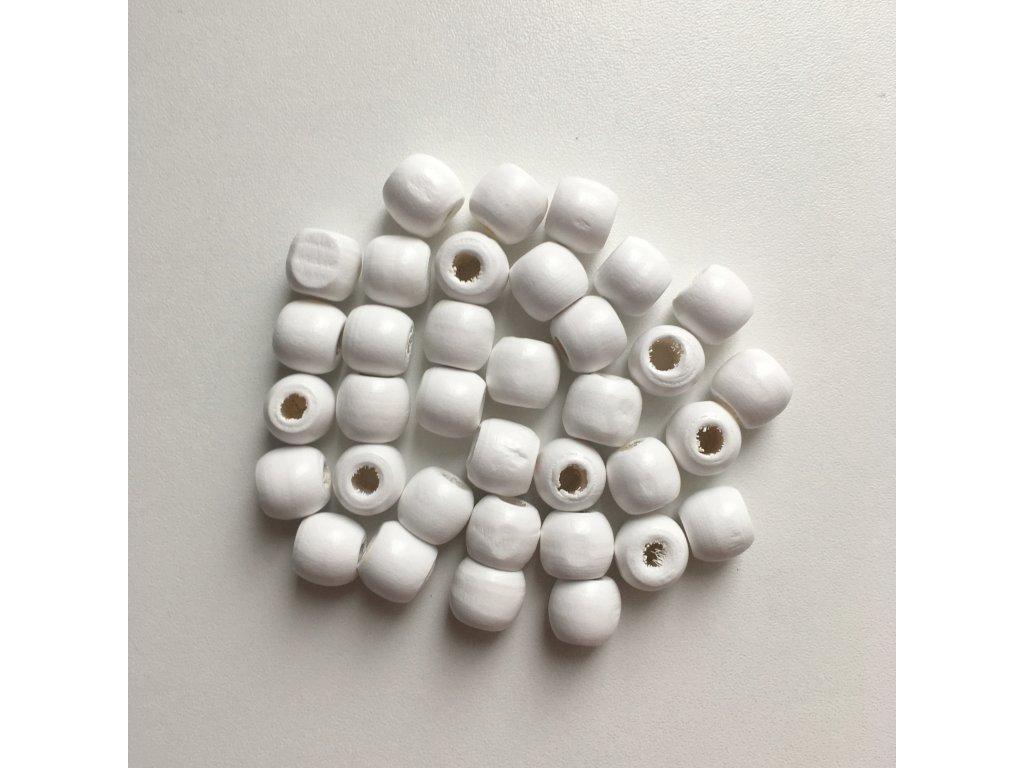 Korálky na vrkôčiky a dready drevené biele malé 35ks