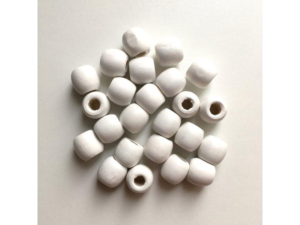 Korálky na vrkôčiky a dready drevené biele veľké 24ks