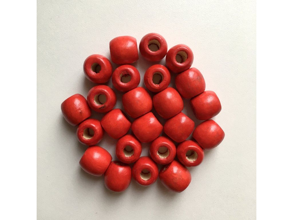 Korálky na copánky a dready dřevěné červené velké 24ks